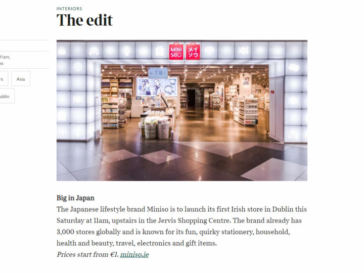 MINISO Ireland on The edit | The Sunday Times