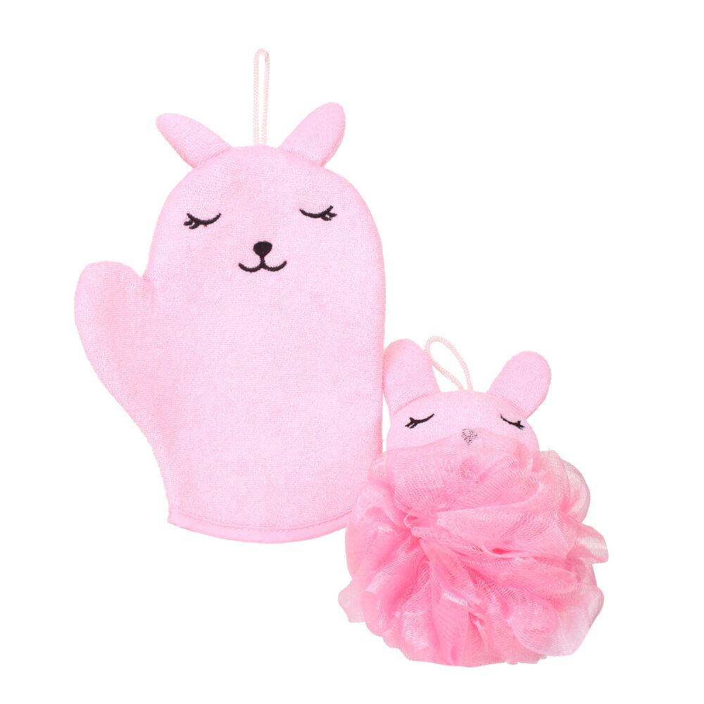 Pink Rabbit Bath Set-Bath Glove + Bath Sponge