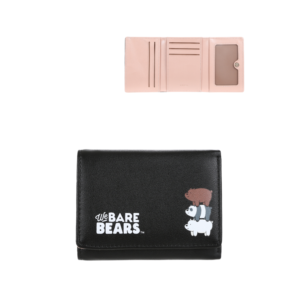 We Bare Bears-Embossed Tri-Fold Wallet-Black