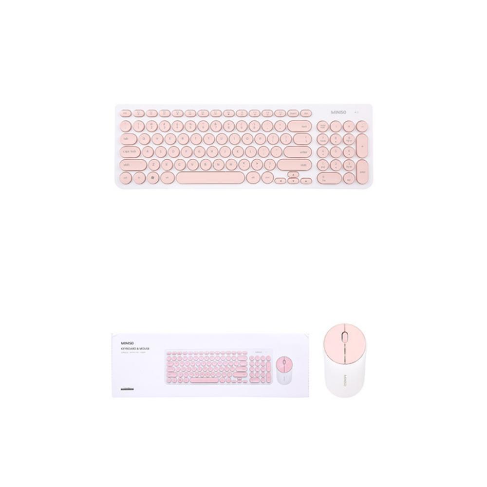 Fashionable Wireless Keyboard Mouse Set (White+Pink)-Model:IK6630