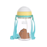 We Bare Bears Water Bottle with Straw 400ml-Grizzly