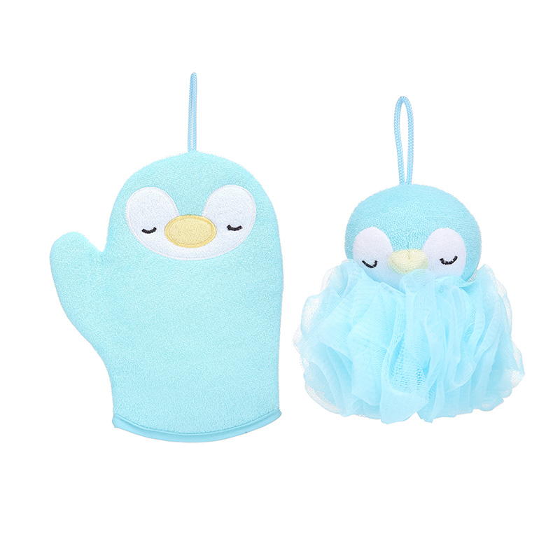 Blue Penguin Bath Set (Bath Glove+Bath Sponge)