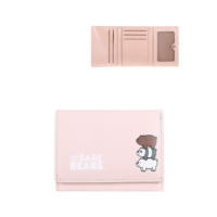 We Bare Bears-Embossed Tri-Fold Wallet-Pink