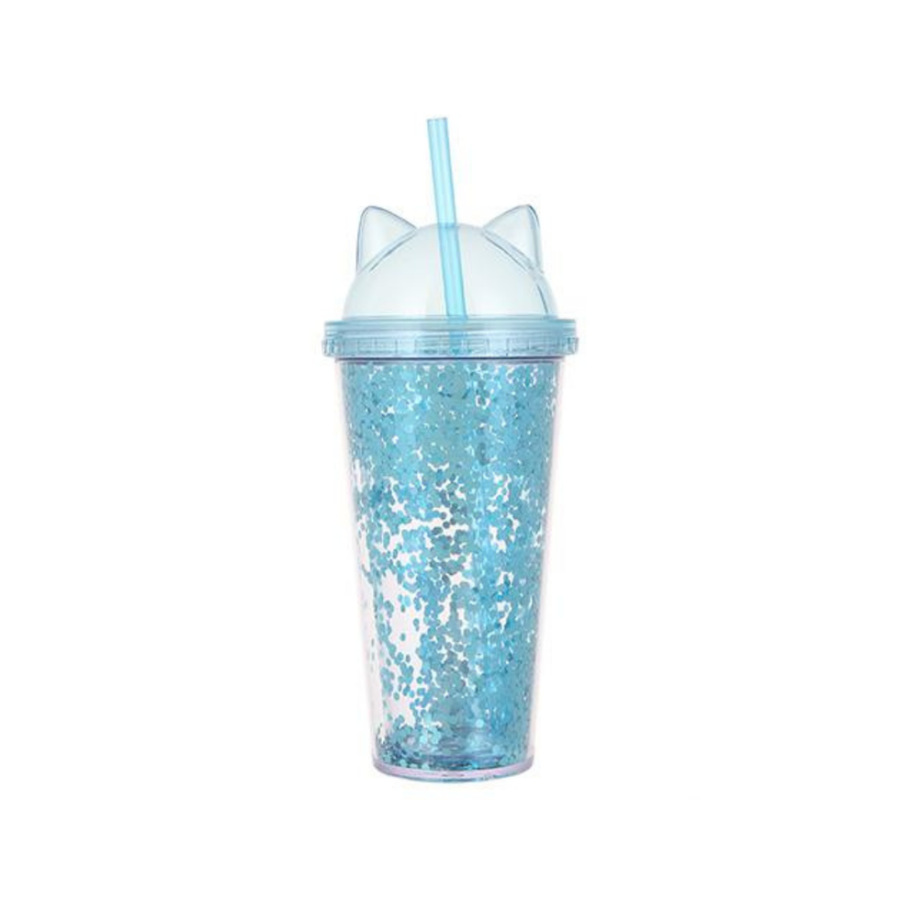 Cat Ears Glittery Tumbler with Straw