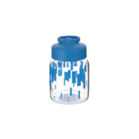 Stripe Series High Borosilicate Glass Water Bottle With Ring Stand
