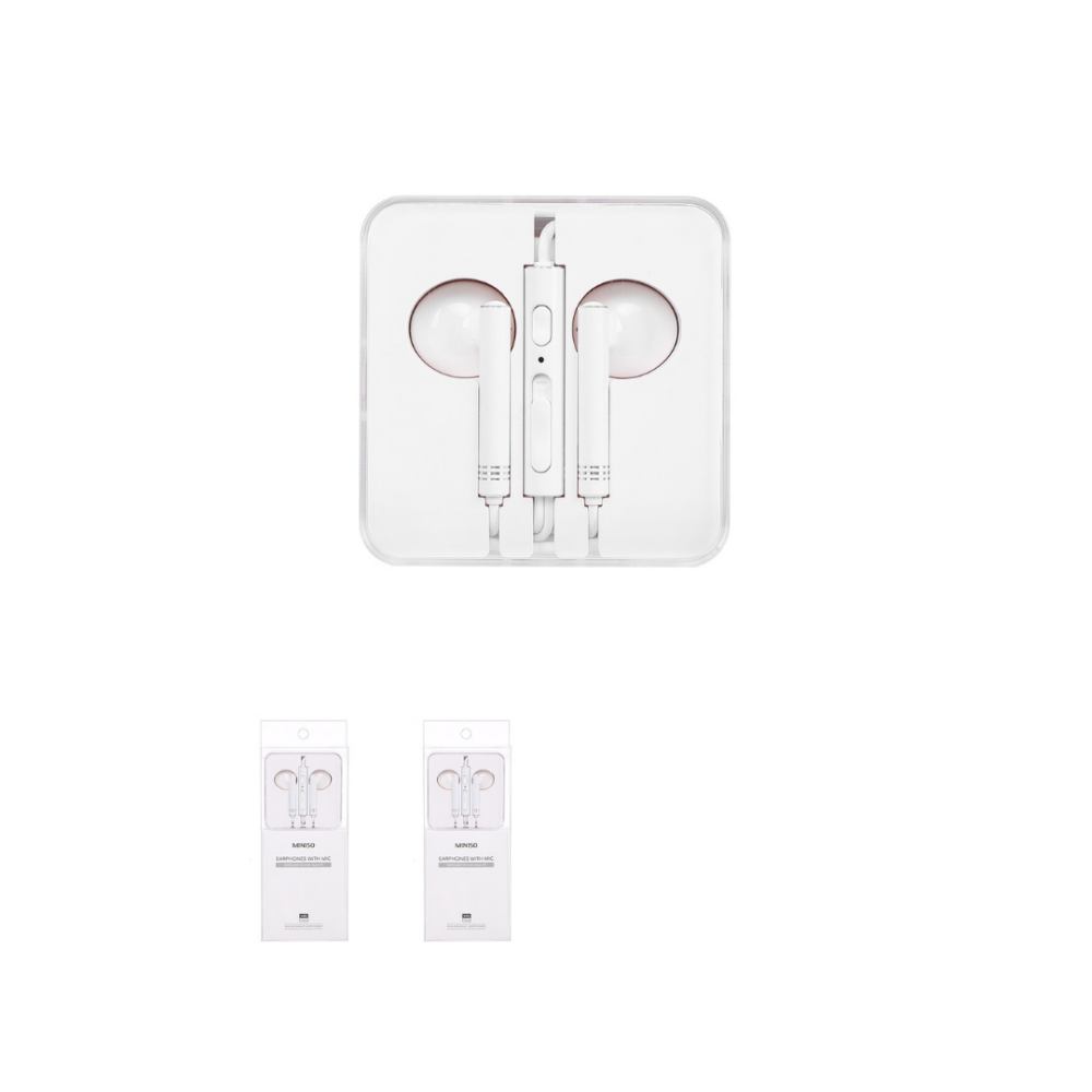 Wire Control In-ear Earphones with Mic (White)