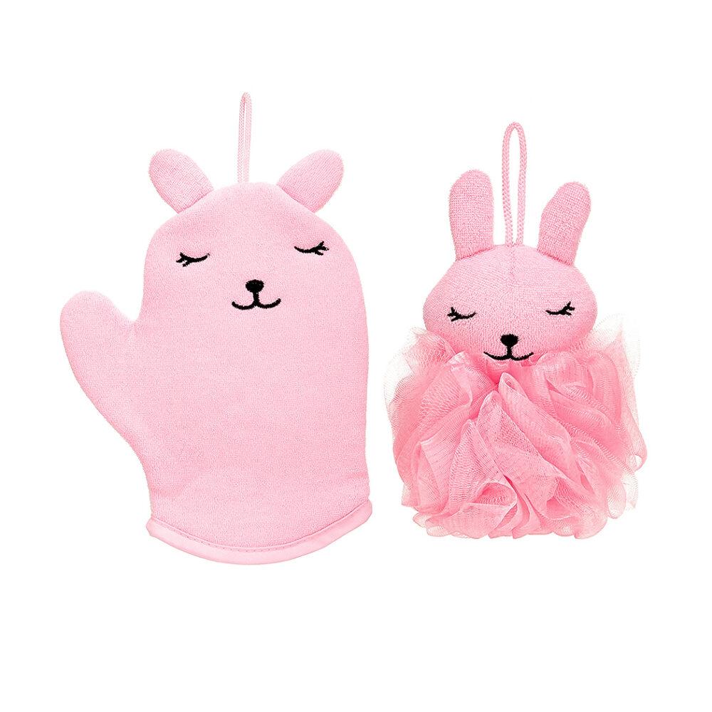 Pink Rabbit Bath Set (Bath Glove + Sponge)