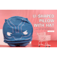 Marvel Collection U-Shaped Pillow With Hat (Black Panther)