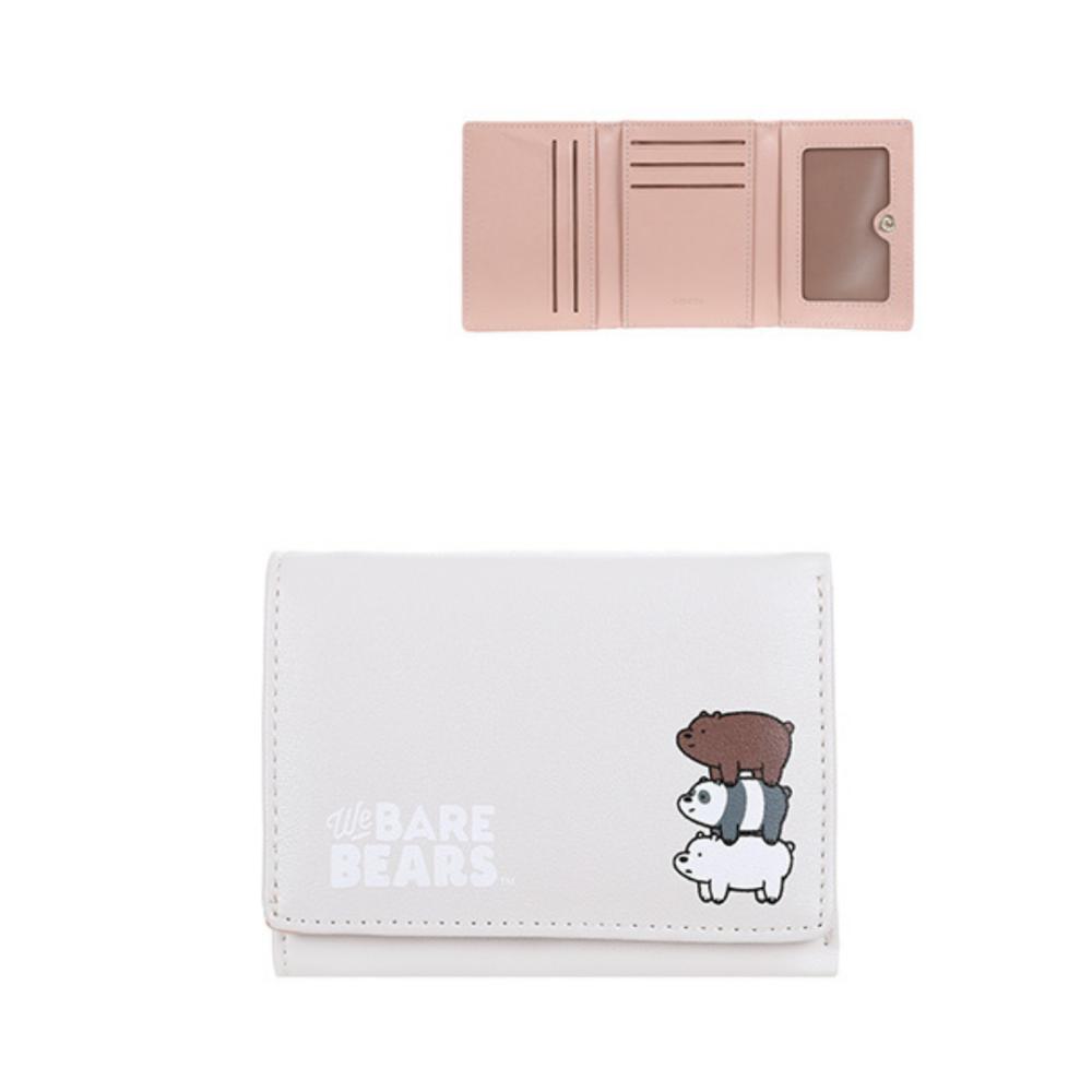We Bare Bears-Embossed Tri-Fold Wallet-Grey